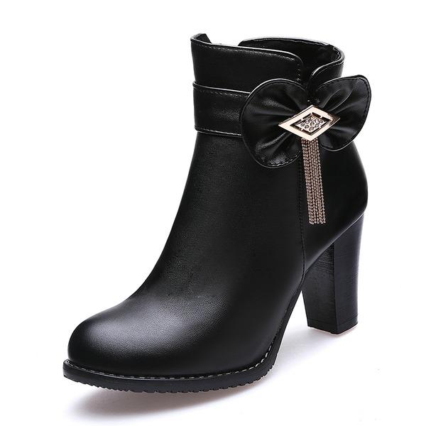 Frauen Kunstleder Stämmiger Absatz Absatzschuhe Geschlossene Zehe Stiefel Stiefelette mit Bowknot Quaste Schuhe