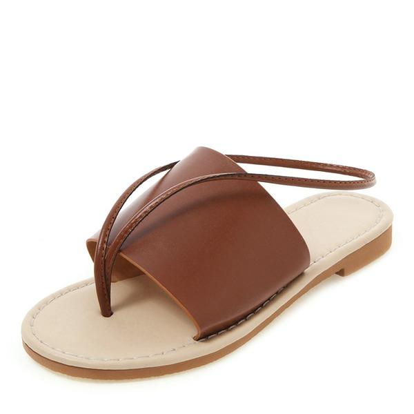 Kvinnor PU Flat Heel Sandaler Platta Skor / Fritidsskor Peep Toe Slingbacks skor