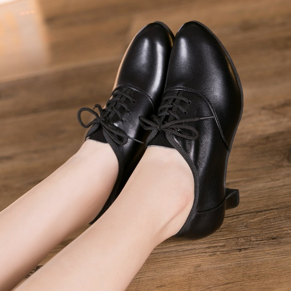 Women's Real Leather Pumps Swing With Lace-up Dance Shoes