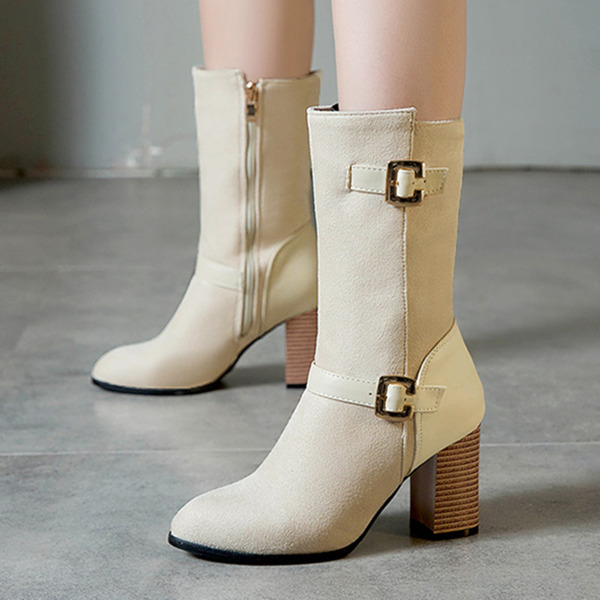 Kadın Süet İnce Topuk Mid-Buzağı Boots Ile Toka Fermuar ayakkabı