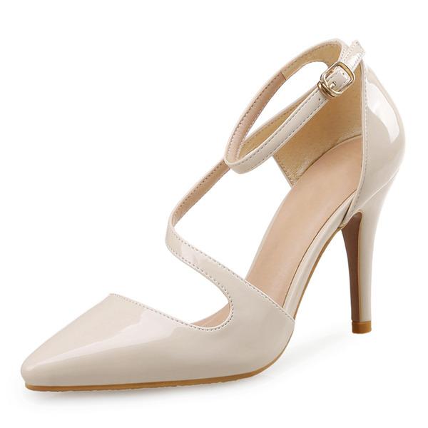 Vrouwen Patent Leather Stiletto Heel Pumps Closed Toe met Gesp schoenen