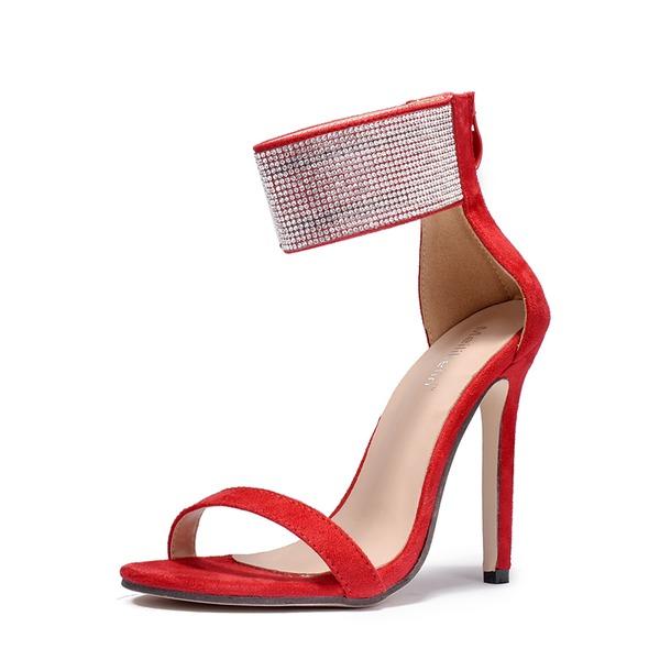 Frauen Veloursleder Stöckel Absatz Sandalen Absatzschuhe Peep Toe mit Strass Perlstickerei Reißverschluss Schuhe