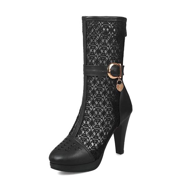 Kvinner Lær Mesh Stiletto Hæl Støvler Mid Leggen Støvler med Spenne sko