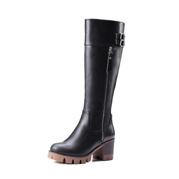 Women's PU Chunky Heel Pumps Platform Boots Knee High Boots With Rivet Zipper shoes