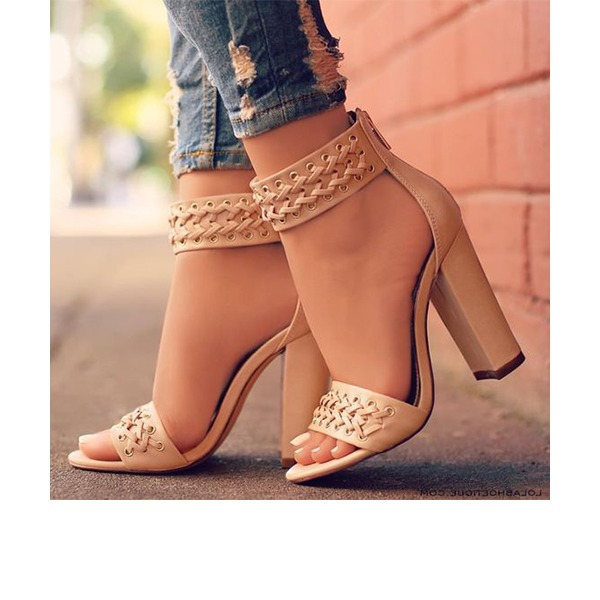 Women's PU Chunky Heel Sandals Pumps Peep Toe With Braided Strap shoes