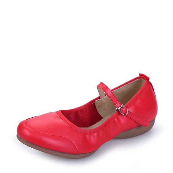 Femmes Vrai cuir Tennis Chaussures de Caractère avec Boucle Chaussures de danse