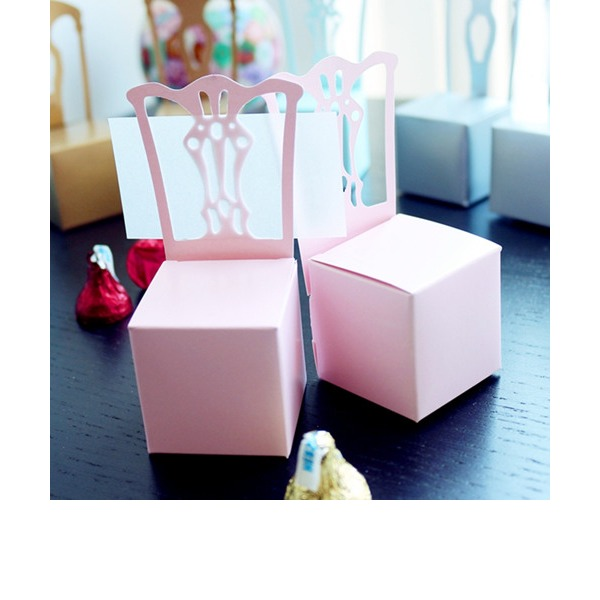 Girls Pink Chair Favor Box and Place Card Holder (Set of 12)