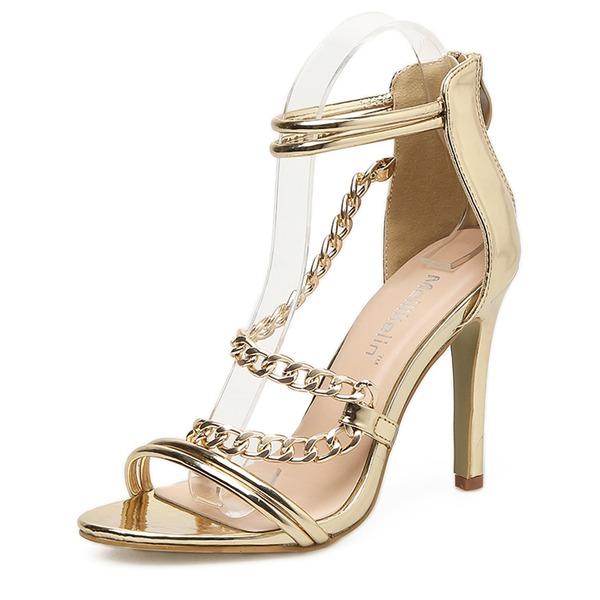 Donna Pelle verniciata Tacco a spillo Sandalo Stiletto Punta aperta con Cerniera scarpe