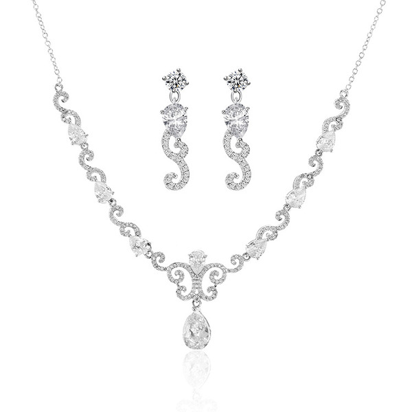 Ladies' Stylish Copper/Platinum Plated Cubic Zirconia Jewelry Sets For Bride/For Mother