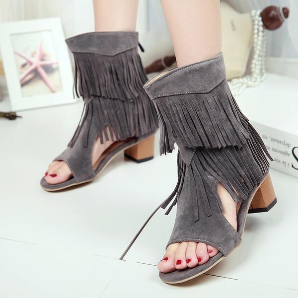 Kadın Suni deri Kalın Topuk Sandalet Pompalar Peep Toe Ile Püskül ayakkabı