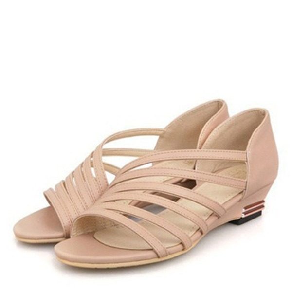 Women's Leatherette Low Heel Sandals Peep Toe With Others shoes