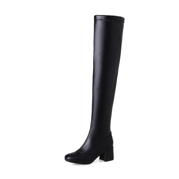 Women's PU Chunky Heel Pumps Boots Knee High Boots With Zipper shoes