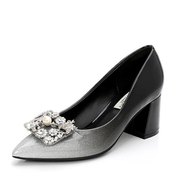 Vrouwen Patent Leather Chunky Heel Pumps Closed Toe met Strass schoenen