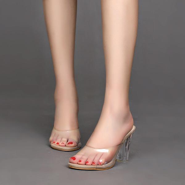 Kvinner Plast Stor Hæl Sandaler Titte Tå Slingbacks sko