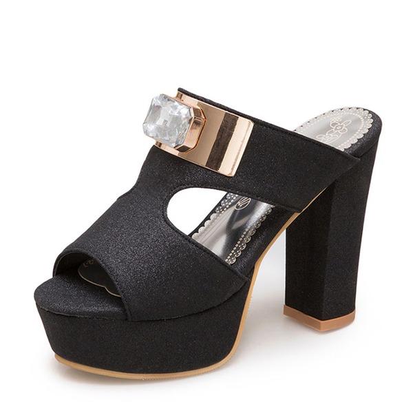 Naisten Kuohuviini glitteri Chunky heel Sandaalit Avokkaat Platform Tossut jossa Tekojalokivi kengät