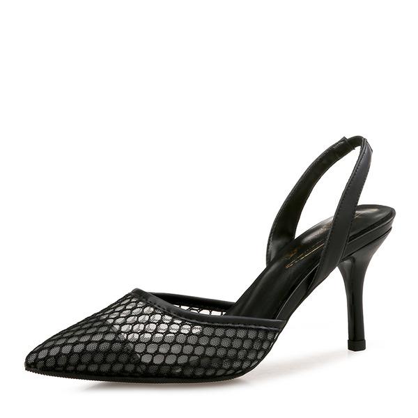 Donna Similpelle Mesh Tacco a spillo Sandalo Stiletto Punta chiusa Con cinturino con Altrui Fascia di gomma scarpe