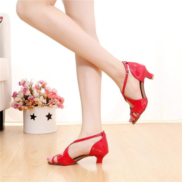 De mujer Cuero Tacones Sandalias Danza latina con Hebilla Agujereado Zapatos de danza