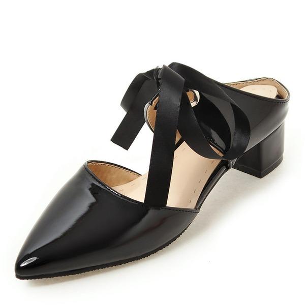 Vrouwen Patent Leather Low Heel Sandalen Plateau Slingbacks met strik schoenen