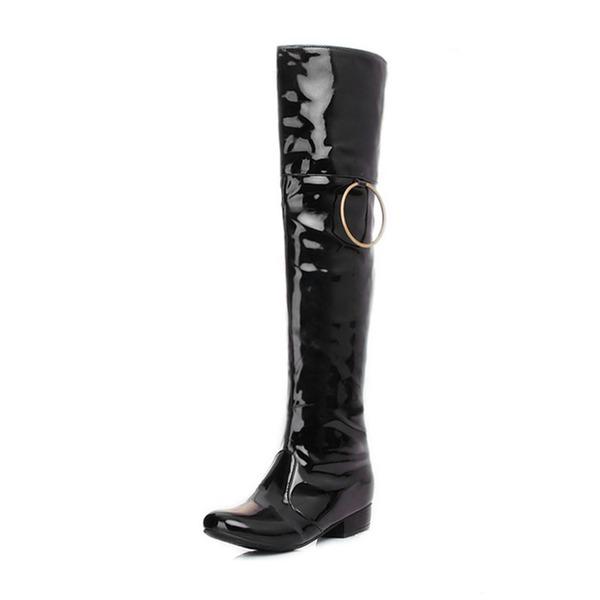 Frauen Lackleder Niederiger Absatz Geschlossene Zehe Stiefel Kniehocher Stiefel Stiefel über Knie mit Schnalle Schuhe