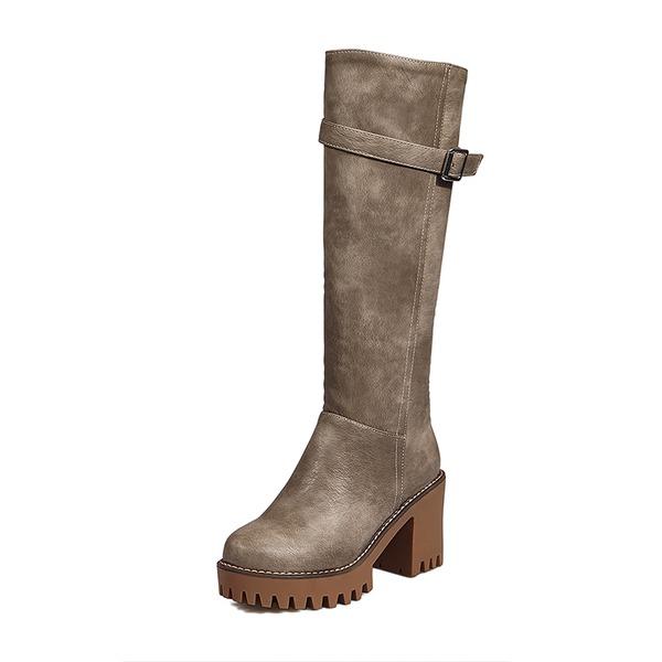 Donna Similpelle Tacco a spillo Stiletto Punta chiusa Stivali Stivali sopra il ginocchio con Fibbia Cerniera scarpe