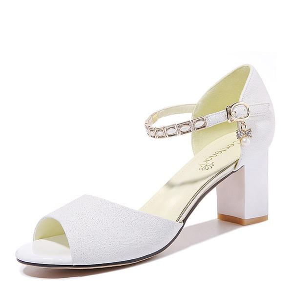 Women's Leatherette Chunky Heel Peep Toe Sandals