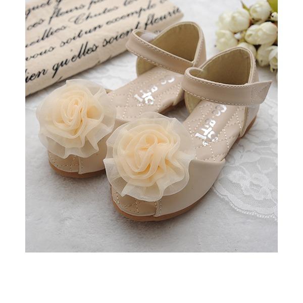 Jentas Titte Tå Leather flat Heel Sandaler Flate sko Flower Girl Shoes med Sateng Sløyfe Velcro