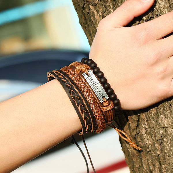 Letter Alloy Leather Rope Unisex Fashion Bracelets (Set of 4)