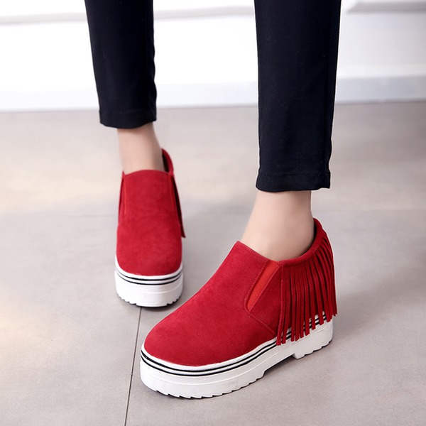 Women's Suede Flat Heel Closed Toe Wedges With Tassel shoes