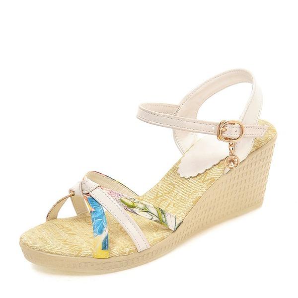Mulheres PVC Plataforma Sandálias Bombas Calços Peep toe Sapatos abertos com Outros sapatos
