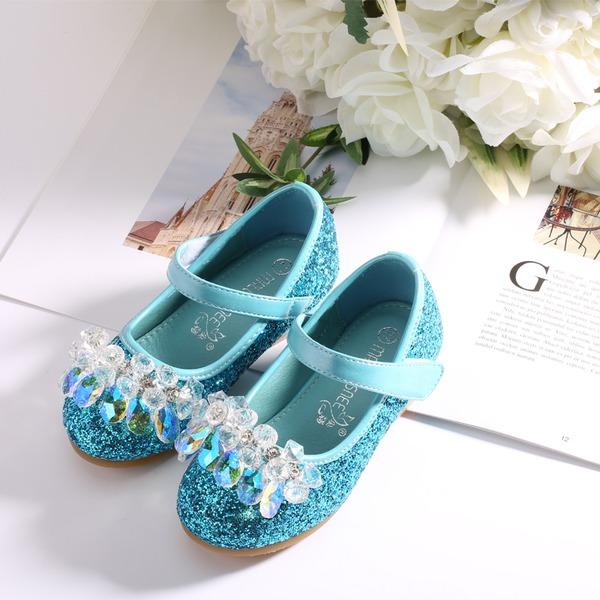Round Toe Lukket Tå Leather Sparkling Glitter flat Heel Flate sko Flower Girl Shoes med Velcro Crystal