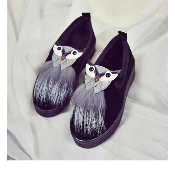 Frauen Veloursleder Flascher Absatz Flache Schuhe Geschlossene Zehe mit Pelz Schuhe