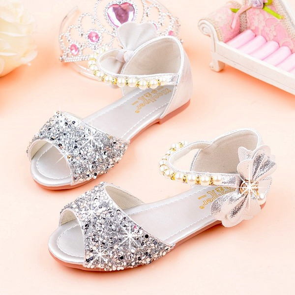 Jentas Titte Tå Leather Sparkling Glitter lav Heel Sandaler Flate sko Flower Girl Shoes med Profilering
