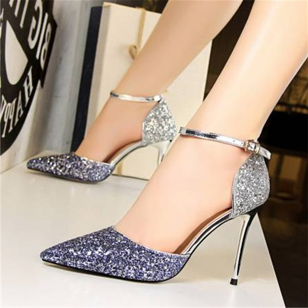 Mulheres Espumante Glitter Salto agulha Sandálias Bombas Fechados com Lantejoulas Divisão separada sapatos