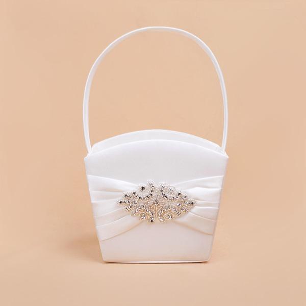 Kaunis Flower Basket sisään Satiini jossa Strassit