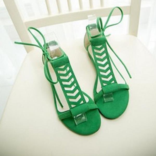 Mulheres Camurça Sem salto Sandálias Sem salto Peep toe Sapatos abertos com Aplicação de renda sapatos