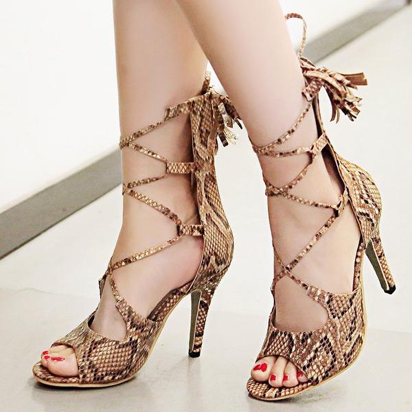 Vrouwen Kunstleer Stiletto Heel Sandalen Pumps Peep Toe met Vastrijgen Tassel schoenen