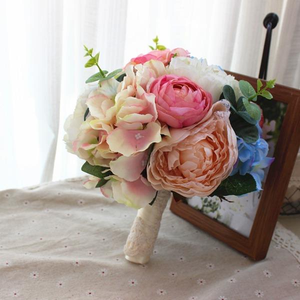 Redondo Satén Ramos de novia/Ramos de la dama de honor (vendido en una sola pieza) -