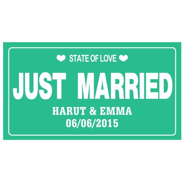 "Personalizado ""Apenas Casado"" Imprensa Board Número da matrícula"