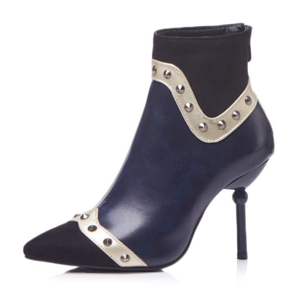 Frauen Kunstleder Stöckel Absatz Absatzschuhe Stiefel mit Niete Schuhe