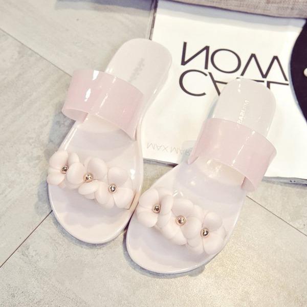 Frauen Gummi Flascher Absatz Sandalen Flache Schuhe Peep Toe Slingpumps Pantoffel mit Blume Schuhe