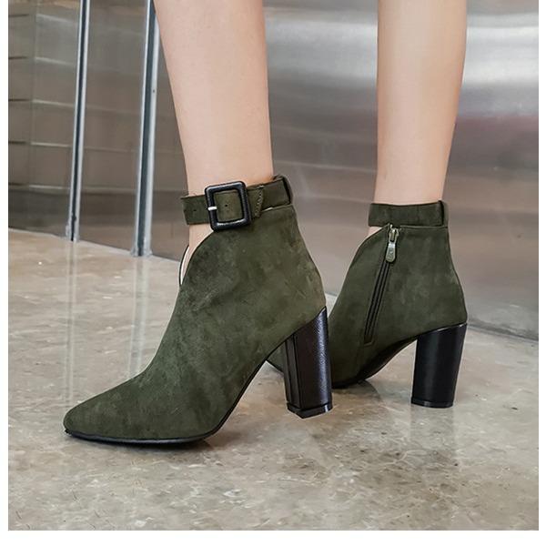 Женщины Замша Устойчивый каблук На каблуках Ботинки أحذية