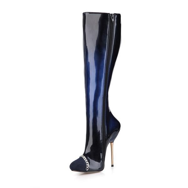 Femmes Suède Cuir verni Talon stiletto Escarpins Bout fermé Bottes Bottes hautes avec Chaîne chaussures