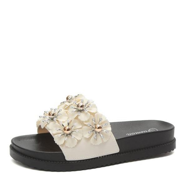 Frauen Kunstleder Flascher Absatz Sandalen Flache Schuhe Peep Toe Slingpumps Pantoffel mit Blume Schuhe