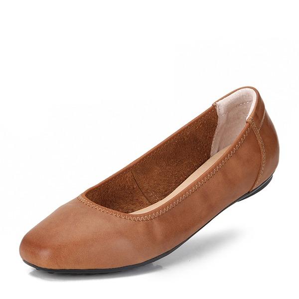 Frauen Echtleder Flascher Absatz Flache Schuhe Geschlossene Zehe Schuhe