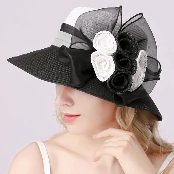 Ladies ' Særlige/Glamourøse/Elegant/Enkle/Iøjnefaldende/Fancy Raffia Straw med Blomst Strand / Sun Hatte