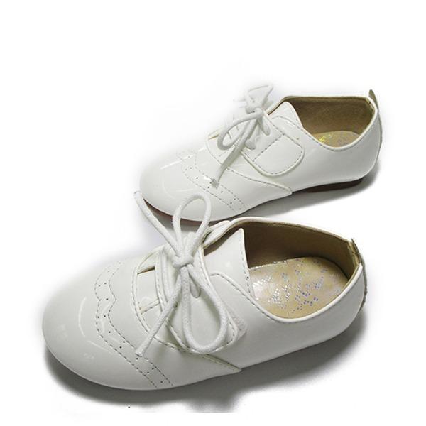 Fille de similicuir talon plat bout rond Chaussures plates avec Dentelle