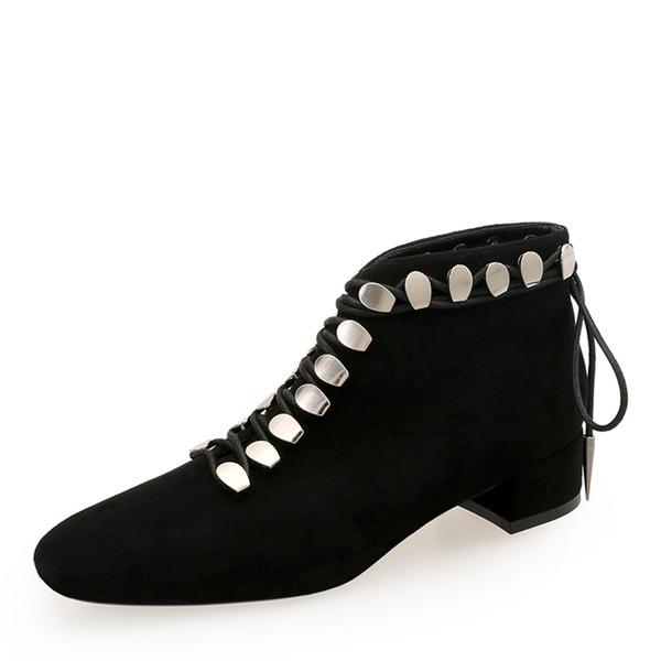 Mulheres Camurça Salto robusto Fechados Bota no tornozelo Martin botas com Rivet Aplicação de renda sapatos