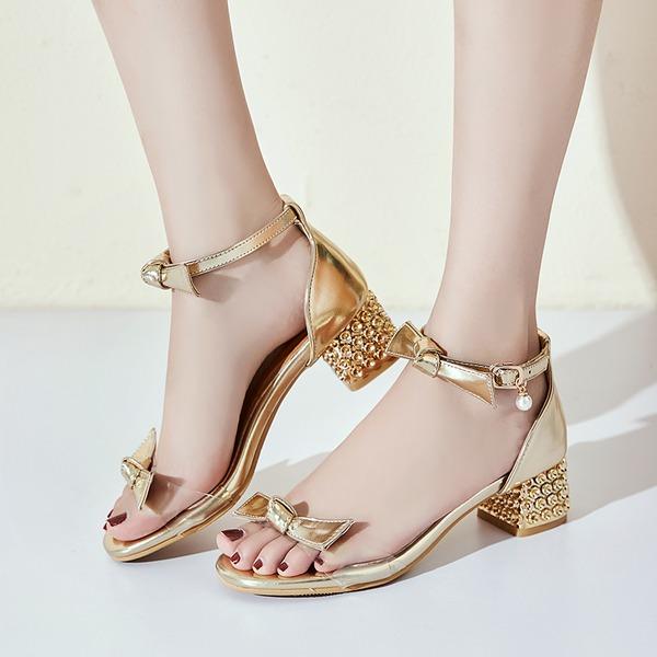 De mujer PU Tacón ancho Sandalias Encaje con Bowknot Perlas de imitación Hebilla Tacones con joya zapatos
