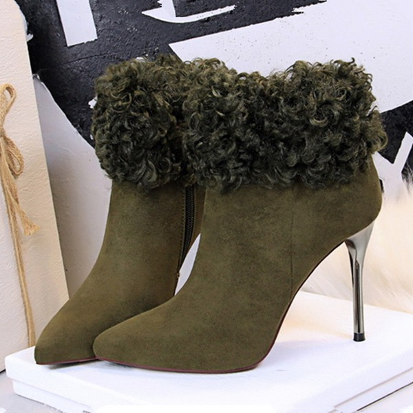 Women's Suede Stiletto Heel Pumps Closed Toe Boots Martin Boots With Faux-Fur shoes