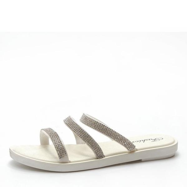 Kvinnor Konstläder Flat Heel Sandaler Platta Skor / Fritidsskor Peep Toe Slingbacks Tofflor med Strass skor